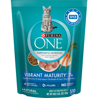 Purina ONE Vibrant Maturity 7+ Real Chicken Cat Food - 510g