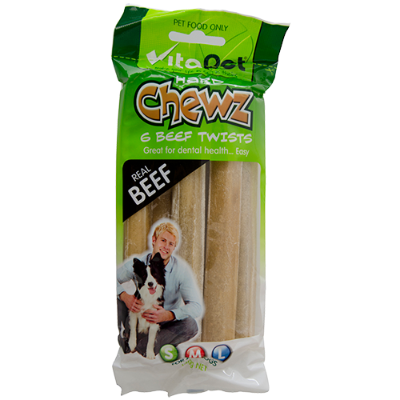 VitaPet Chewz 6 Beef Twists For All Dogs - 6ea