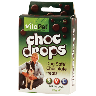VitaPet Choc Drops Dog Safe Chocolate Treats For All Dogs - 100g